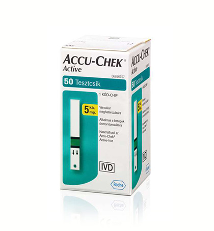 Accu-Chek Active vércukorszint mérő tesztcsík (50 db)