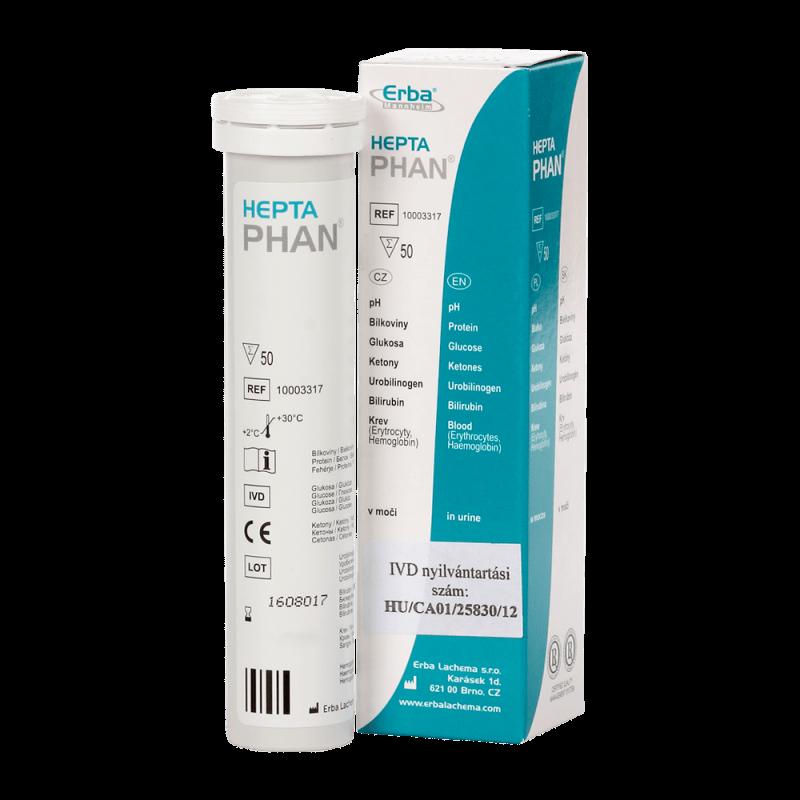 7 komponensű vizelet tesztcsík HeptaPhan (50 db)