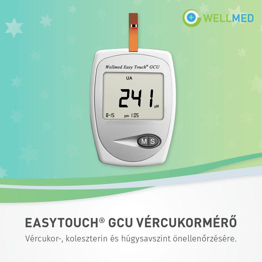 Vércukor és koleszterinszint mérő készülék, Wellmed EasyTouch GCU